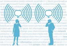 Gente di affari di smartphone G4 WiFi della rete del social Fotografia Stock
