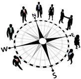 Gente di affari di strategia di sensi della bussola Fotografie Stock Libere da Diritti