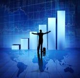 Gente di affari di successo sul mondo rombante economico Immagini Stock
