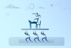 Gente di affari di Team Hold Businessman With Binocular che guarda nel capo futuro Success Concept Illustrazione di Stock