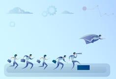 Gente di affari di Team Looking With Binocular On dell'uomo d'affari di Hero Flying Leader di concetto di successo Illustrazione Vettoriale