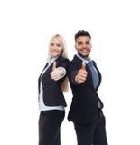 Gente di affari di Team Smile, mano di And Businesswoman Hold dell'uomo d'affari con il pollice sul gesto Fotografia Stock Libera da Diritti