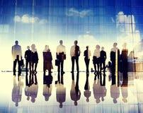 Gente di affari di visione di aspirazione di scopi di concetto corporativo della città Immagini Stock Libere da Diritti