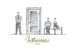 Gente di affari disegnata a mano che aspetta intervista Fotografie Stock