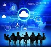 Gente di affari e concetti di calcolo della nuvola Fotografia Stock Libera da Diritti