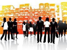 Gente di affari e costruzioni illustrazione vettoriale