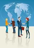 Gente di affari e mappa di mondo Fotografia Stock Libera da Diritti