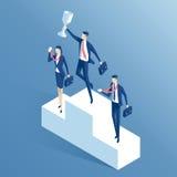 Gente di affari e piedistallo Fotografia Stock Libera da Diritti