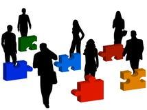 Gente di affari e puzzle royalty illustrazione gratis