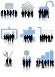 Gente di affari ed icone Fotografie Stock Libere da Diritti