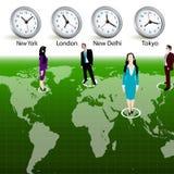 Gente di affari, fascie orarie differenti Fotografia Stock Libera da Diritti