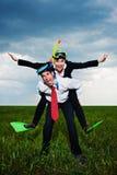 Gente di affari felice che va vacation Immagini Stock
