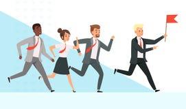 Gente di affari funzionare La femmina maschio dei responsabili dei lavoratori va con la loro direzione della mano della bandiera  illustrazione di stock
