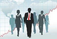 Gente di affari globale della squadra della camminata del diagramma del programma di mondo Immagini Stock Libere da Diritti