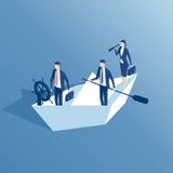 Gente di affari isometrica e barca di carta Immagini Stock Libere da Diritti