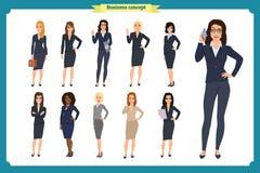 Gente di affari messa del ` s delle donne Progettazione di Character della donna di affari teamwork illustrazione vettoriale