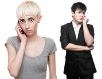 Gente di affari preoccupata che chiama per telefono cellulare Immagine Stock Libera da Diritti