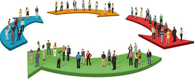 Gente di affari sopra le frecce Fotografia Stock Libera da Diritti