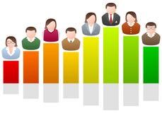Gente di affari sul diagramma Fotografia Stock Libera da Diritti