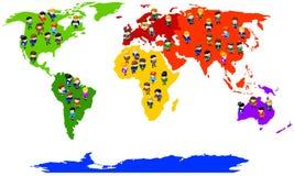 Gente di affari sul programma del mondo. Immagine Stock Libera da Diritti