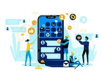 Gente di affari di Team Work a Smartphone con il App royalty illustrazione gratis