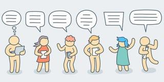 Gente di conversazione con l'insieme semplice della bolla di scarabocchio - linea illustrazione di vettore di arte royalty illustrazione gratis
