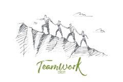 Gente disegnata a mano che scala tenersi per mano della collina Immagini Stock Libere da Diritti