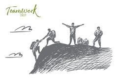 Gente disegnata a mano che si aiuta a scalare Fotografie Stock Libere da Diritti