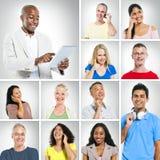 Gente diversa con la comunicación global Imagen de archivo