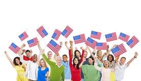 Gente diversa unida como una para América Foto de archivo libre de regalías