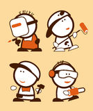 Gente divertente di professioni della costruzione. royalty illustrazione gratis