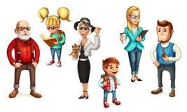 Gente divertente famiglia insieme dell'icona di vettore 3d illustrazione di stock