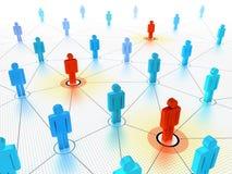 Gente dominante en una muchedumbre conectada stock de ilustración