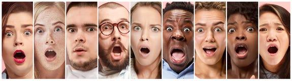 Gente dudosa con la expresión pensativa, collage creativo fotos de archivo libres de regalías