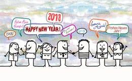 Gente e nuovo anno felici 2018 Immagini Stock