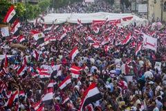 Gente egipcia que protesta contra la fraternidad musulmán Fotografía de archivo libre de regalías