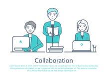 Gente elegante de la colaboración con vector de los ordenadores portátiles ilustración del vector