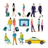 Gente en aeropuerto, iconos planos fijados Imagen de archivo libre de regalías