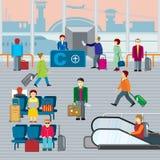 Gente en aeropuerto Illustraton plano del vector stock de ilustración