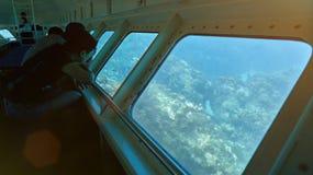 Gente en barco con la parte inferior de cristal Fotos de archivo libres de regalías