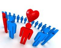 Gente en círculo con símbolo del corazón ilustración del vector