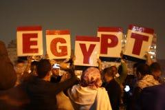 Gente que protesta en el cuadrado de Tahrir Foto de archivo libre de regalías