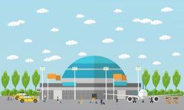 Gente en el aeropuerto, sistema plano Imágenes de archivo libres de regalías