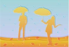 Gente en el arte del papel de la lluvia stock de ilustración
