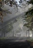 Gente en el camino brumoso foto de archivo libre de regalías