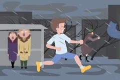 Gente en el clima tempestuoso Imagen de archivo