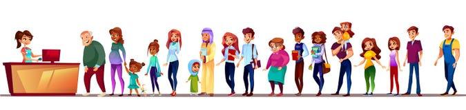 Gente en el ejemplo del vector de la cola del supermercado libre illustration