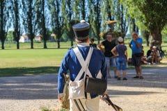 Gente en el evento de Napoleonica Representación vestida en magnific Fotos de archivo