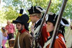 Gente en el evento de Napoleonica Representación vestida en magnific Foto de archivo