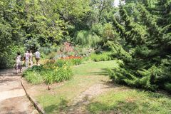 Gente en el jardín botánico Foto de archivo